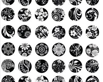 Digital Black/White pendant Circles No. 11 Instant Download