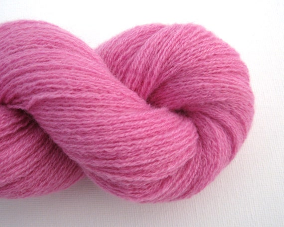 Lace Weight Cashmere Recycled Yarn, Cool Pink, Two Skeins, 360 Yards