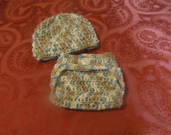 CLEARANCE crochet diaper cover with hat set, camo, newborn, photo prop