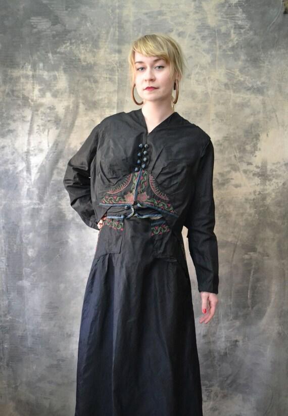 1800s Victorian Black Satin Embroidered Dress