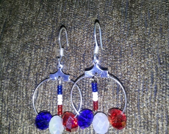 Red, White, and Blue Crystal Earrings