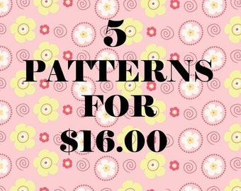 ANY 5 PDF Crochet Patterns For 16 DOLLARS