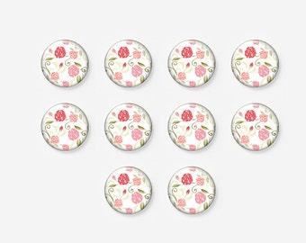 10 pcs, Cabochon Lot, Photo Glass Cabochon, Jewelry Making, Glass Dome, Flower, Pink Rose, Shabby Chic, 12mm, A38-11-248