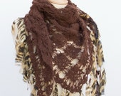 Christmas Sale Gift For Her Bitter Brown  Mohair Triangle Shawl with Safari Leopard Chiffon Fringe
