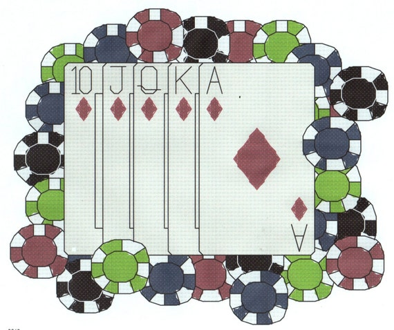 Poker Cards & Chips Cross Stitch Pattern Royal Flash