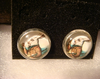 Silver Alice in Wonderland White Rabbit Ring Stud Earrings (984)