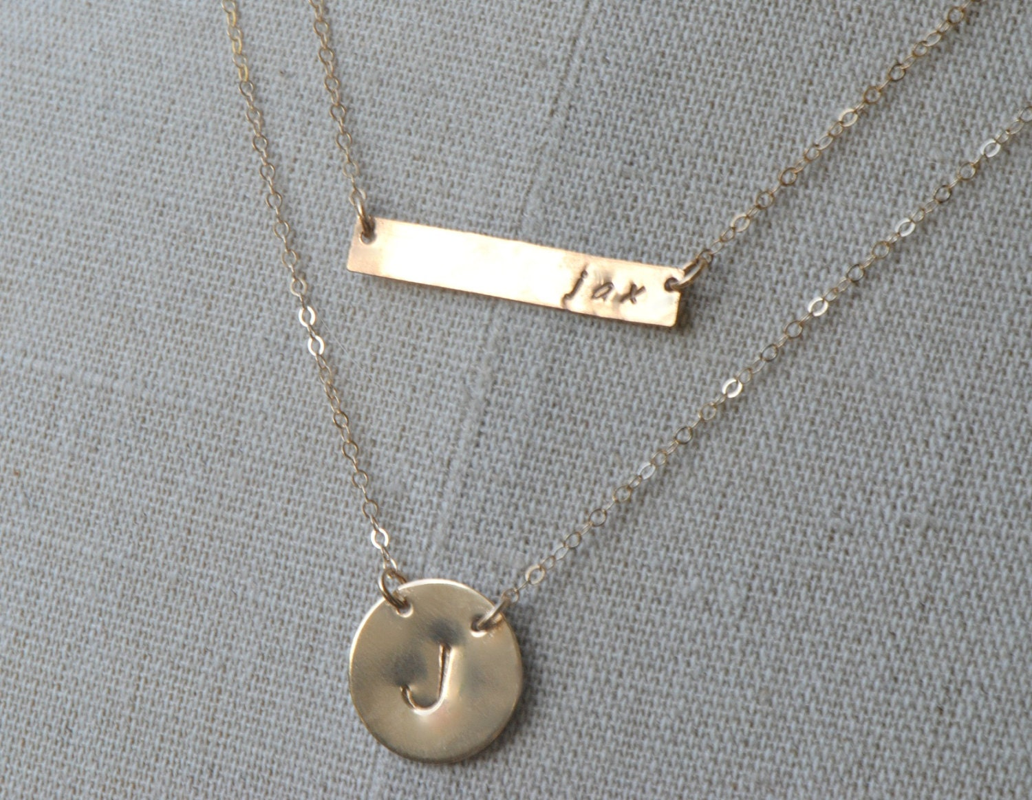 personalized gold bar necklace initial disc necklace