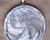 Large Mother Of Pearl Carved Flower Sterling SIlver Pendant