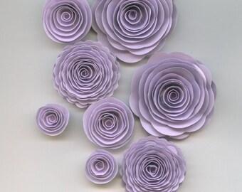 Lavender Purple Girl Handmade Spiral Paper Flowers