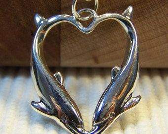 Silver Kissing Dolphins Heart Necklace, Sterling Silver Pendant, Silver Charms, Mother, Ocean, Sea, Love, Wedding, Bridesmaid