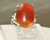Carnelian and sterling ring,Carnelian engagement ring,Valentine's ring,Carneilan cocktail ring, Orange ring,Carnelian men's ring