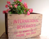 Wood Crate Box, Wooden Vintage Rustic Industrial Decor, Primitive Storage Container Planter Box
