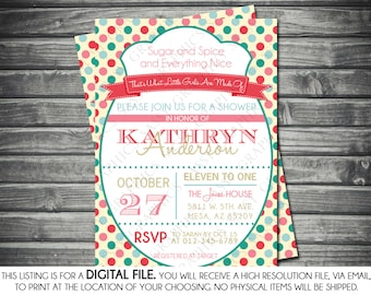 Girls Baby Shower Invitation - Modern, Pink, Teal, Polka Dots, Printable, Digital