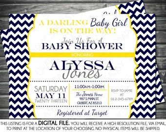 Girls Baby Shower Invitation - Chevron, Navy, Yellow, Printable, Digital