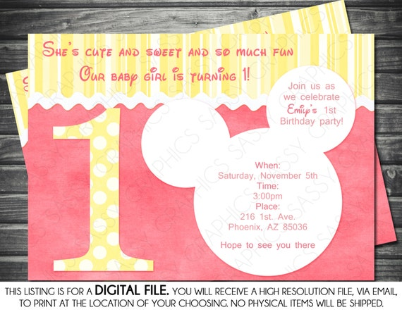 St Birthday Minnie Mouse Inspired Girl Birthday Invitation - Minnie mouse birthday invitations blank