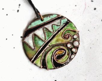 "Copper Enamel pendant ""Forest dragon"""