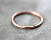 Women's Slim Gold Wedding Band, Skinny Round Recycled 14k Rose Gold Ring Brushed Gold Wedding Ring or Stacking - Made in Your Size
