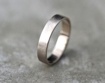 Men's Gold Wedding Band, Unisex 4mm Brushed Matte Flat 14k Recycled Palladium White Gold Wedding Ring Eco Gold Ring -  Made in Your Size