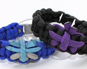 "550 Paracord Butterfly on 550 Paracord Survival Strap Bracelet Anklet with 3/8"" Plastic Contoured Side Release Buckle"