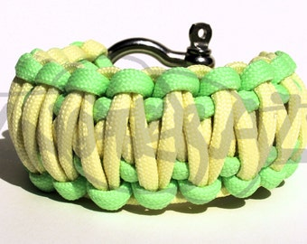 TWO Glow in the Dark Color King Cobra 550 Paracord Survival Strap Bracelet w/ Stainless Steel Shackle