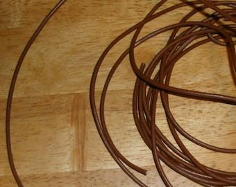 32.50 Feet of 3mm Brown Leather  Cord(5 meters)-FREE-folding crimps-splitrings