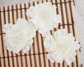NEW: Manor House Creations 3 piece Shabby Chic Handmade Paper Flower - Naomi White