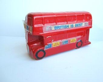 Vintage Double Decker British Bus Bank