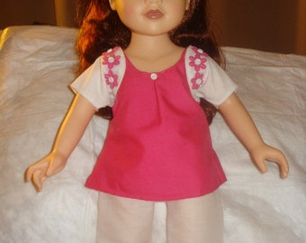 4-piece pink and white pant set for 18 inch Dolls - ag154