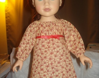 Empire waist Peasant dress in rust orange floral for 18 inch Dolls - ag03