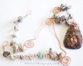 Spiral Copper with Red Opal Pendant and Imperial Jasper Necklace - Summer Nights - Art Jewelry by Sarah McTernen