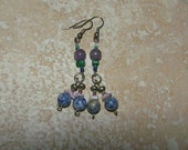Amethyst Lapis Lazuli Malachite Puka Shell Pink Blue Glass Beaded Earrings