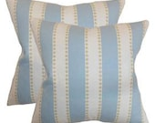 Pillow Cover Cushion 20x20 blue stripe pattern  , other sizes available,