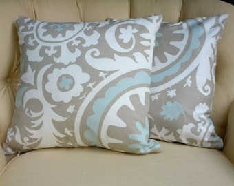 """Pillow Cover Cushion River Rock 20x20"""" Suzani taupe blue  Select your size"""
