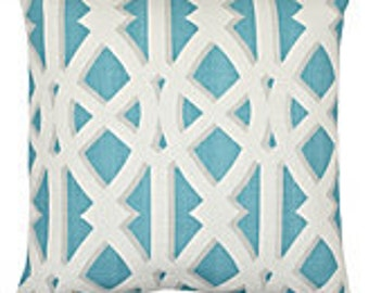 Pillow Cover Cushion 20x20 Parterre aqua or 7 other colors listed other sizes available