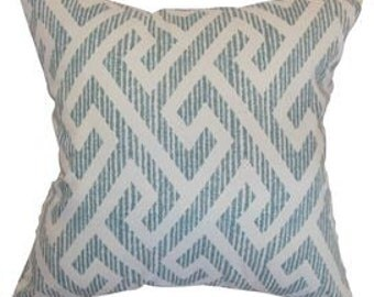 Pillow Cover Cushion 20x20 blue t shaped geometric pattern  , other sizes available,