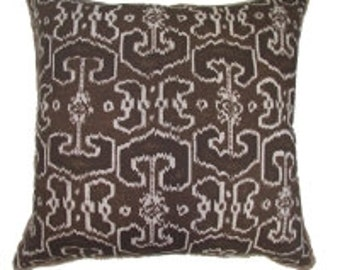 Pillow Cover Cushion 20x20  java brown   ikat suzani   geometric  pattern  , other sizes available,