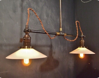 Vintage Industrial Double Shade Ceiling Light - Industrial Chandelier - Cafe Lighting - Industrial Lighting - Steampunk Pool Table Drafting