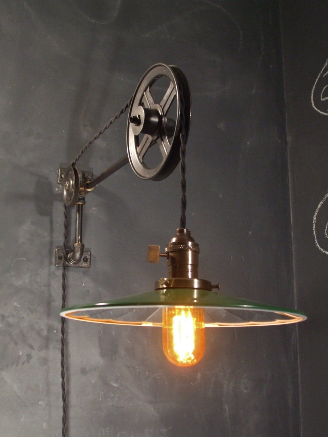 Vintage Industrial Pulley Light Mirror Glass Shade By