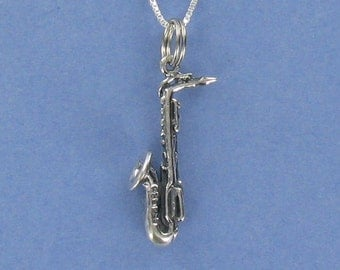 Silver Saxophone Necklace on Card with Inspirational Music Quote