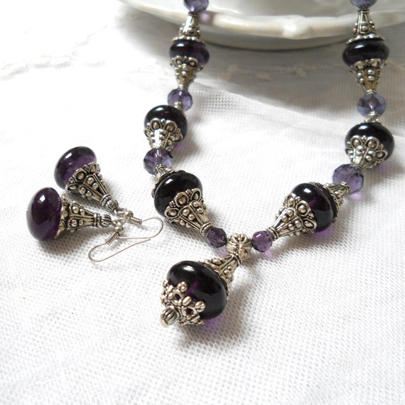 purple necklace and earrings purple necklace purple earrings beaded necklace and earrings purple jewelry