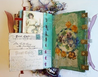 Keepsake Book Altered Book Journal with Victorian Era Portraits and Vignettes