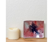 SALE - Pottery Dish / Soap Dish / Jewelry Dish / Pillar Candle Holder / Pink Purple Glazed Pottery / Shabby Chic Decor