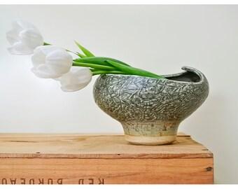Vintage Earthenware Pottery Vase • Flower Frog Vase • Hand Thrown Maine Pottery • Modern Art Vase • Dark Green Earth Tone Pottery Bowl Vase