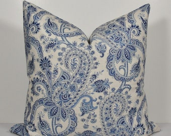 KRAVET Paisley Linen in shades of blue - BOTH SIDES - Decorative pillow cover - Throw Pillow - Accent pillow - square or lumbar