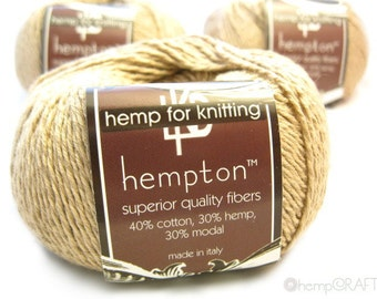 Hemp Cotton Yarn, Creme Light Tan 130yd Hemp/Cotton/Modal Blend