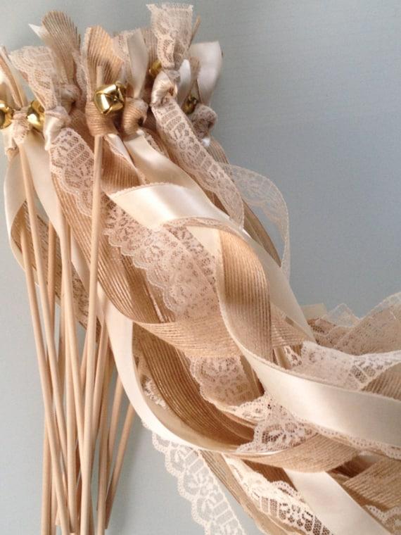 50 Triple Ribbon Wedding Wands Lace And Burlap Jute Ribbon