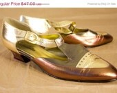 SALE Sz 9  1970s Gold and Copper Metalic Leather Heels