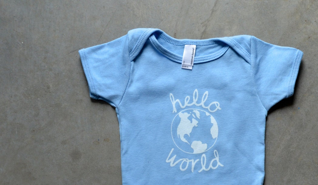 ONESIE (3-6 Months) Hello World - Light Blue