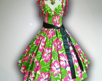 Charming Spring Bloom Floral 50s Pin up Rockabilly Swing Dress Full Swing Skirt size M-L