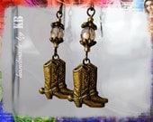 Cowboy Boot Earrings - Swarovski Crystal, Antique Bronze Boho